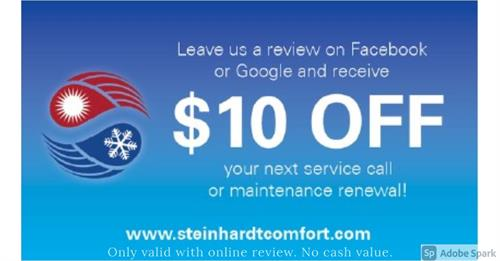 $10 OFF for positive review.  One per household, no cash value.