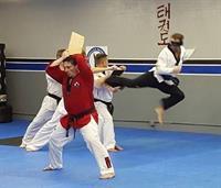 Master Henrich demonstrating board break- Jump turning back kick- blind folded