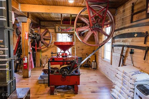We operate our 100+ year old grinder to show how flours and meals were made in the past. Kids and adults love it!
