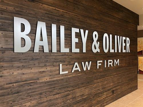 Cut letters, Bailey & Oliver Law Firm