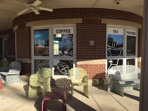 Window vinyl, 211 Cafe @ Bentonville Public Library