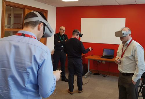 The executive team spends a 1/2 day learning and experiencing AR and VR technology