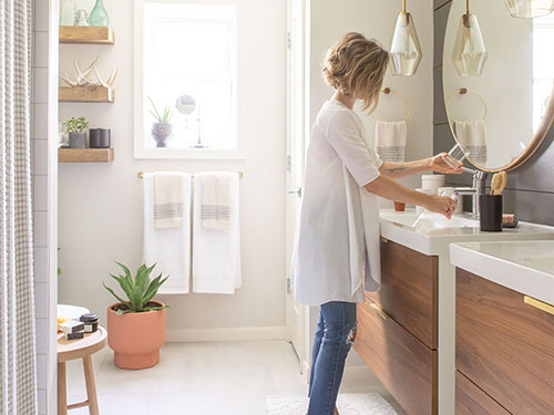 Carly Fox styling Houston bathroom virtual remodel project