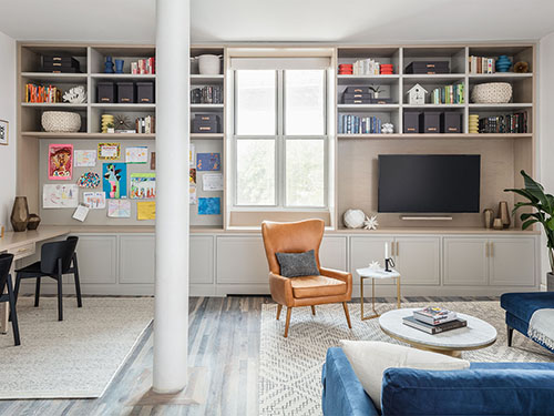 Brooklyn Dining Living Entry Kitchen Renovation with Custom Wood Slat Room Divider, Radiator Covers, Window Surround, and Built-ins