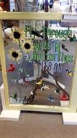 Hand-Painted Window With Bird Magnets