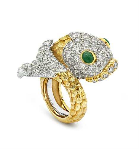 David Webb Emerald and Diamond Fish Ring