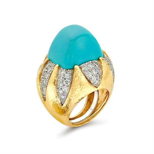 David Webb Turquoise and Diamond Ring