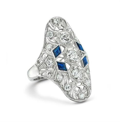 Sapphire and Diamond Deco Ring