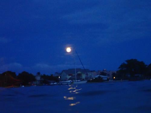 Full Moon over the Atlantic Ocean