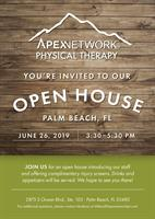 Open House at the new ApexNetwork Physical Therapy clinic in Palm Beach June 26th