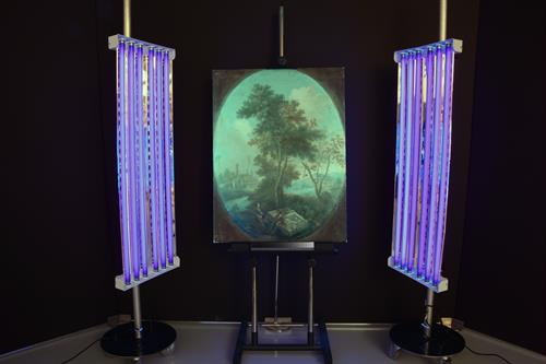 Examination of a Painting Under UV Light