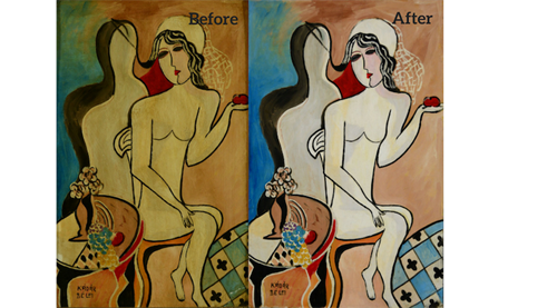 Woman with an Apple, Before/ After