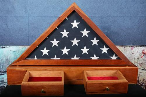 Antique Cherry Veterans Flag Display Unit with dovetailed drawers