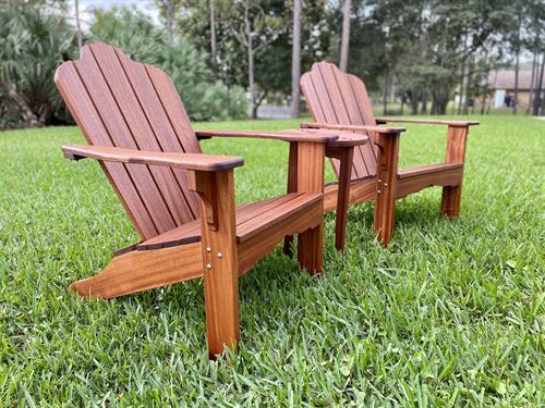 Handmade mahogany Adirondack Chair set