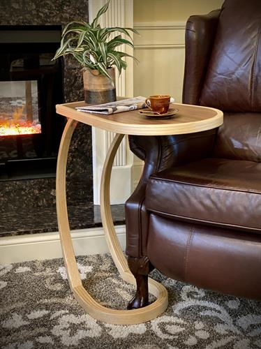 The Solstice sidetable- steam bent ash and walnut