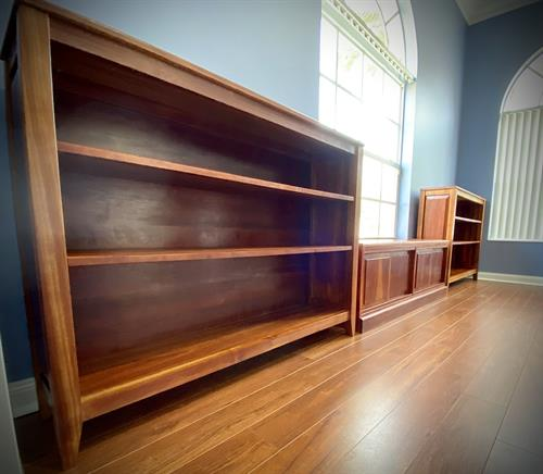 Antique cherry bookshelves and window unit