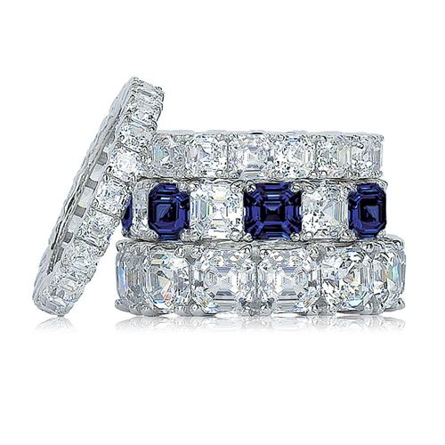 14K Gold Cubic Zirconia Asscher Eternity Bands Available with Lab Sapphires