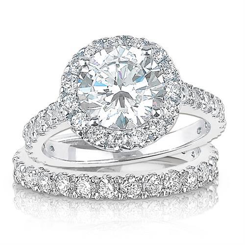 14K White Gold Cubic Zirconia Round Halo Engagment Ring Wedding Set