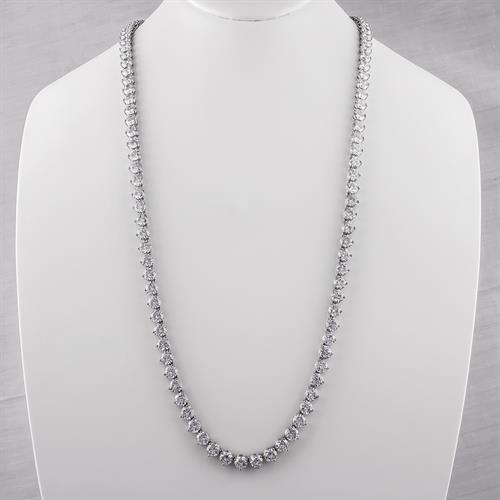 14K Gold Cubic Zirconia Round Diamond Look Opera Necklace