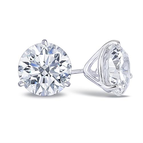 14K Cubic Zirconia Round Martini Stud Earrings