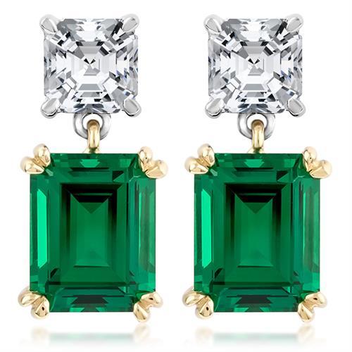 14K Cubic Zirconia Asscher and Green Emerald Drop Earrings