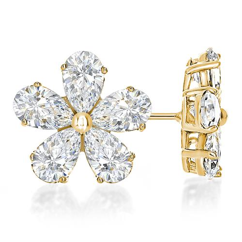 14K Gold Cubic Zirconia Pear Cluster Flower Earrings