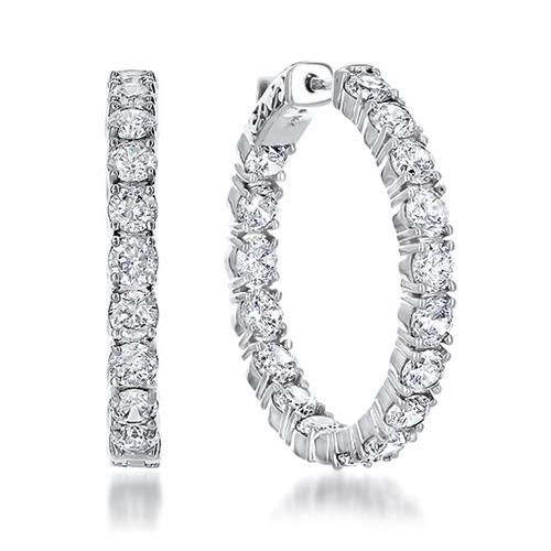 14K Gold Cubic Zirconia Round Vault Lock Huggie Hoop Earrings
