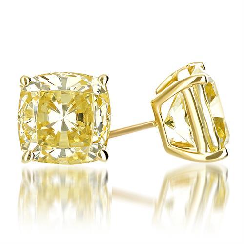14K Yellow Gold Canary Yellow Diamond Look Cubic Zirconia Cushion Cut Earrings