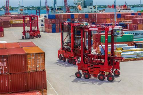 Tropical Shipping container yard