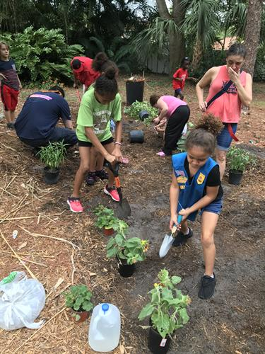 During our Fall Council-Wide Community Service Project, Girl Scouts work together to become Earth Defenders! Here is a troop planting a butterfly garden in their community.