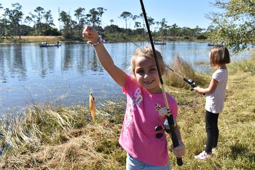 Fishing is a beloved pastime, and at Camp girls of any age can join in on the fun.