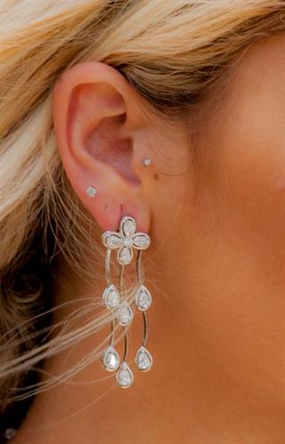 Triple Diamond Cascade Earrings
