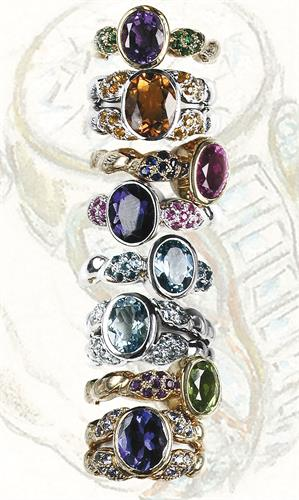 Flowing Lines Colored Stone Rings