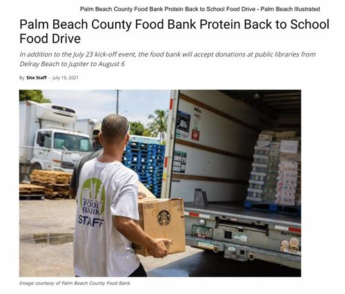 Palm Beach Illustrated coverage of Protein Back to School Food Drive