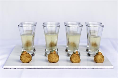 Smoked Mozzarella Arancini, Champagne