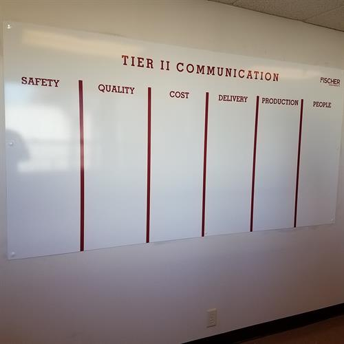 Custom dry erase boards for manufacturing area