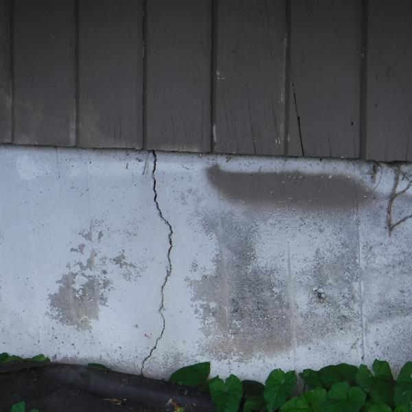 Foundation cracks may indicate settlement and poor site drainage