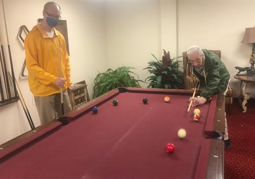 Active Seniors playing pool