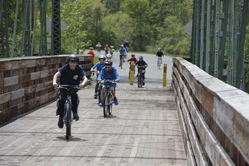 The Dix Bridge is a perfect place for the whole family to enjoy cycling, walking, and enjoying unique views of the Hudson River.