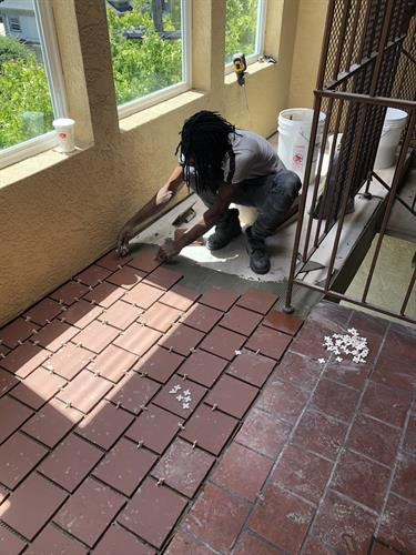During Tile Repair