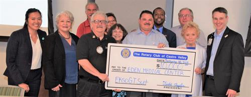 CV Rotary Presents first $10,000 Matching Grant to Eden Med Ctr's robotic suit request.
