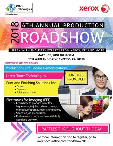 Save the Date on 3/15!  Join SoCal Office Technologies, A Xerox Company and other industry experts at our 4th Annual Production Roadshow!  #socalofficelife #xerox -- Let us know you're coming via RSVP on our guest list: https://lnkd.in/gijY-_G