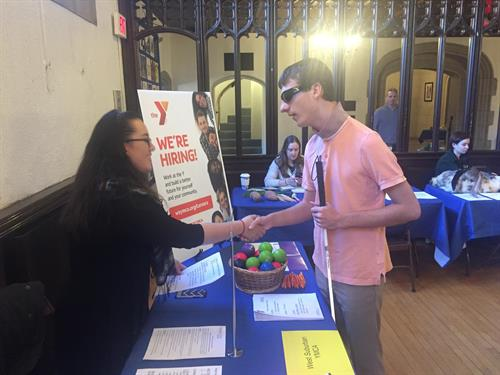 The Y visits a career fair at Perkins School for the Blind
