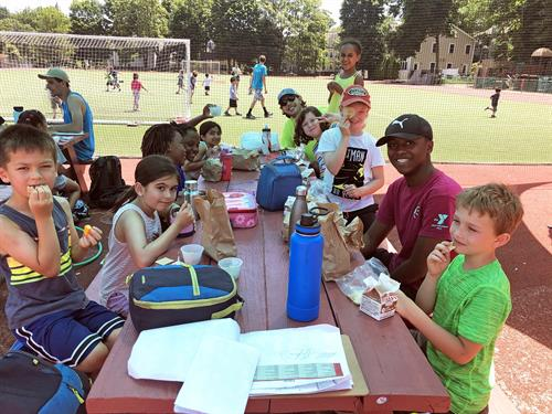 "YMCA Camp Pikati, located at the Y, provides free lunches through the ""Summer Eats"" food program."