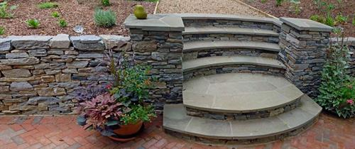 Bluestone Step Treads with Pennsylvania Natural Stone Wall.