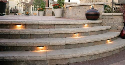 Steps in Brussels Tumbled Wall Block with Ledgestone Coping.