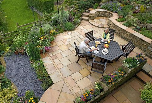 Unilock Autumn Harvest Natural Sandstone Patio.
