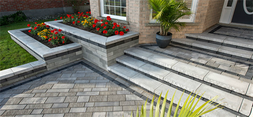 Front Walkway in Artline Pavers with Lineo Retaining Garden Wall.