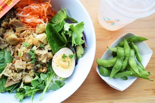 White Rice Bowl with Spice Rubbed Chicken, Deviled Tea Egg, and Edamame
