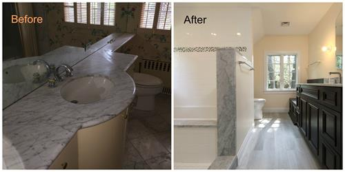 Before and after of a Brookline bathroom